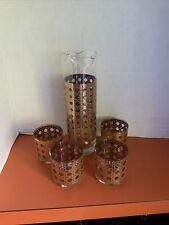 Vintage 22K Gold Culver Cannella Barware Set With Glasses