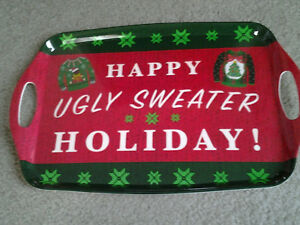 """""""HAPPY UGLY SWEATER HOLIDAY"""" LARGE MELAMINE CHRISTMAS SERVING TRAY very unusual"""