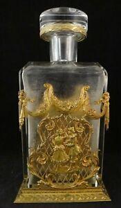 Very Fine Antique French Gilt Bronze Decanter Frame w/Original Crystal Decanter.