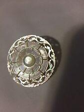 Vintage Estate Mother of Pearl Brooch Bethlehem Ornate Hand Carved Brooch Pin