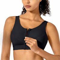 SYROKAN Women's High Impact Wireless Cross Back Support Front, Black, Size 34C T