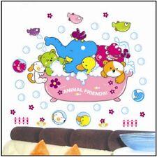 Animal Elephant Dog Duck Hippo Bathtub Bath Wall Sticker Decal Vinyl Kids Room