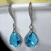 Elegant 925 Silver Drop Earrings for Women Aquamarine Jewelry A Pair/set
