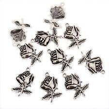 Rose Flower Beads Tibetan Silver Charms Pendant DIY Bracelet 22*15mm 10pcs