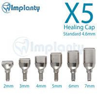 5 Standard Healing Cap 4.6mm  Dental Abutment internal Hex Fit Alpha Bio Mis