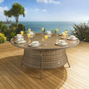 Massive Luxury Garden / Outdoor Round Dining Table Brown Rattan 1.8mtr