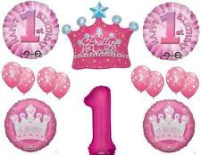 GIRL'S 1ST PRINCESS CROWN First Birthday Party Balloons Decoration Supplies