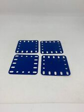 4 Meccano Vintage Part 194a UK Blue Plastic Flexible Plate 5 X 5 (2.5in x 2.5in)