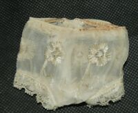 Antique Victorian Doll Linen Underwear Panties Embroidered Flowers 1890's