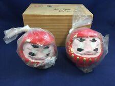 "Vintage Japanese Daruma Dolls 3.5"" Lucky Figurines Asian Home Decor"
