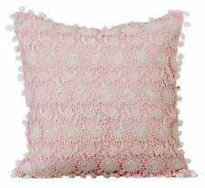 """Pink 22""""x22"""" Handmade Cushion Cover, Linen Crochet Floral Lace - Pink Dreamers"""