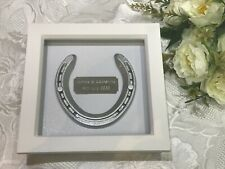 REAL HORSESHOE in WHITE WOOD BOX FRAME with Personalised Engraved Plaque