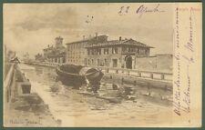 Pavia, Naviglio Pavese. Cartolina disegnata da Arturo Ferrari. Viaggiata 1918