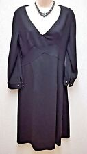 Versace 1969 Elegant Black a Line Dress With Pearled Cuff Links Size S UK 10