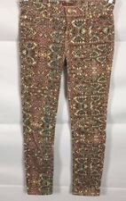 7 For All Mankind Jeans Girls Size 14 Mid Rise Skinny PINK SNAKE PRINT (27 x 26)