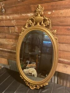 Vintage SYROCO GOLD FRENCH FARMHOUSE FLORAL OVAL MIRROR MCM