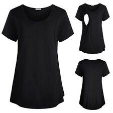 Women Pregnant Maternity Clothes Layered Nursing Tops Mom Breastfeeding T-Shirt