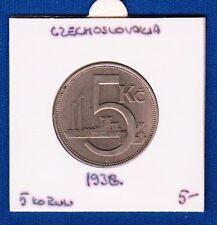 Czechoslovakia coin, 5 Korun 1938, REPUBLIKA ČESKOSLOVENSKÁ, Nickel !