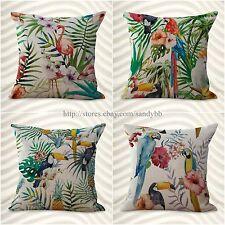 set of 4 cushion covers bird toucan flamingo hibiscus flower interior decorator