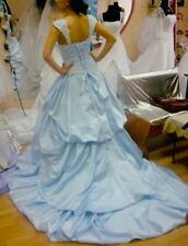 New Beautiful Blue Bridal Gown Princess Long Train Wedding Dress