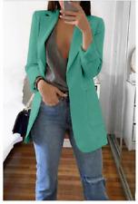 Women Slim Blazer Jacket Top Outwear Long Sleeve Career Formal Coat Lt.Green 5XL