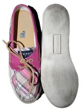 Women Sperry Top-sider Bahama Pink Fuchsia Sequin Plaid Boat Shoe Size 7 37.5 M