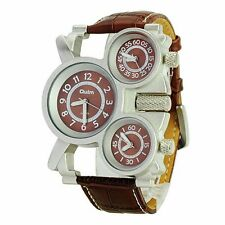 OULM Men's Sport Military Cool Brown 3 Time Zones Movements Watch Leather Gift