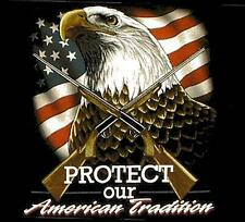 PROTECT OUR AMERICAN TRADITON BLACK TEE SHIRT SIZE M adult T103 eagle flag NEW
