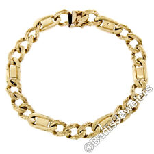 "Men's 14K Solid Yellow Gold 8"" Fancy Textured Figaro Link Chain Bracelet 28.88g"