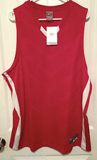 New NIKE Mens Large Basketball Jersey Red Singlet Dry Fit White Game Running