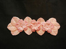 A peach pink beaded fabric floral motif / pink beaded floral applique for sale