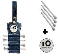 Golf Tee Holder Leather Hook to Golf Bag Belt Clip Ball Marker 4 Pcs Wood Tee