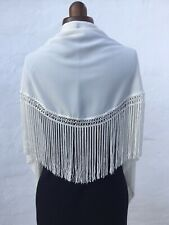 Spanish Flamenco Gypsy Shawl/Manton Ivory Crepe Triangular Shape