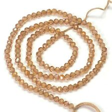 """100% Natural 3.2MM Peachy Brown Zircon Faceted Round Rondelle Beads 13"""" strand"""