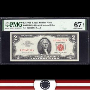 1963 $2 LEGAL TENDER *RED SEAL* PMG 67 EPQ Fr 1513  A09842751A