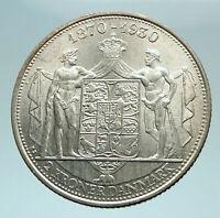 1930 DENMARK Kings CHRISTIAN X Antique Genuine Silver 2 Kronor Coin i79386