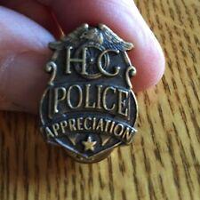 NEW HARLEY-DAVIDSON HOG BRONZE TONE POLICE APPRECIATION VEST HAT JACKET TAC PIN