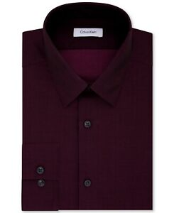 Calvin Klein Mens Dress Shirt Red Bordeaux Size 14 Slim Fit Dobby Stripe $75 224