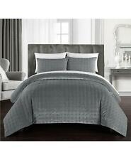 Chic Home Chyna Velvet 3 Piece King Quilt Set Grey $540
