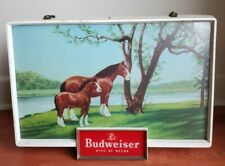 New listing Vintage Budweiser Clydesdale Horse Light Up Electric Sign 1950's Fluorescent