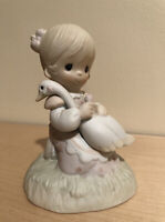 Precious Moments God is Love 1980 No Box Girl With Goose Triangle Marking EUC