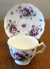 Aynsley Bone China Cup & Saucer - Violette - Slight Scallop Edges