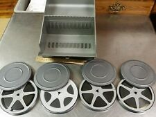 Logan Deluxe 8mm Film 12 Reel Chest, 4 Castle Films, Brumberger Metal Canisters