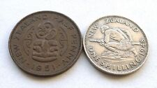 NEW ZEALAND COINS X 2: SHILLING 1948 + HALF PENNY 1951, GEORGE VI, BOTH VF+