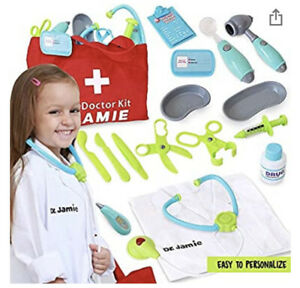 NWT Kids Doctor's Kit Instruments, Stethoscope, Lab Coat Stickers To Personalize