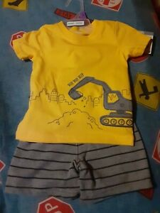 New Baby Boys 2pc summer Outfit clothes Carters construction set 0-3 Months nwt