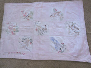 VTG Dated1942 Hand Embroidered Baby / Child's Quilt with Birds ~ FREE SHIP~27x49