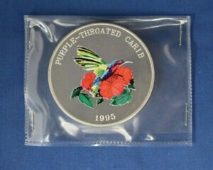 """1995 Turks & Caicos 5oz Silver 25 Crowns coin """"Purple Throated Carib"""" in Packet"""