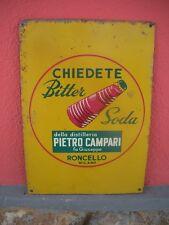 CHIEDETE BITTER SODA Tabella Litografata ORIGINALE 1960 Targa Campari MILANO