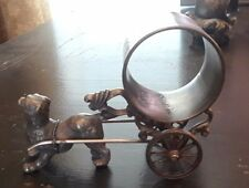 Antique Silver Figural Napkin Ring Dog pulling Cart Victorian